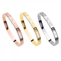 BR0004 BOBIJOO Jewelry Bracciale in acciaio con 3 colori 3 dimensioni Placcato in Oro Strass
