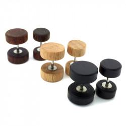 PIP0016 BOBIJOO Jewelry Pendiente Falso Perforación Del Tapón De Madera De Metal De Acero