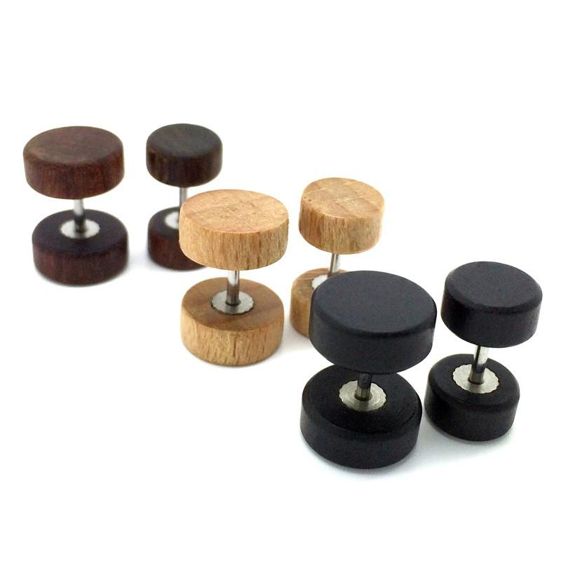 PIP0016 BOBIJOO Jewelry Earring Fake Piercing Plug Wood Metal Steel