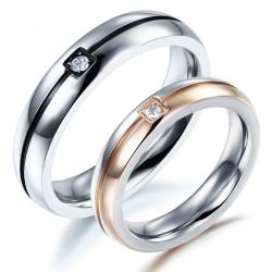 AL0031 BOBIJOO Jewelry Alianza Anillo Anillo de Oro Rosa Negro Falso Diam's