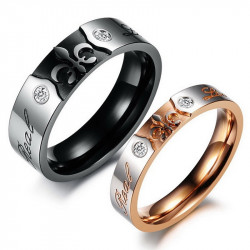 Alliance Real Love Rose Gold Noir Mariage Fleur Lys bobijoo