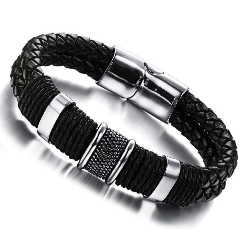 BR0056 BOBIJOO Jewelry Bracelet Cuir Tressé Acier Inoxydable