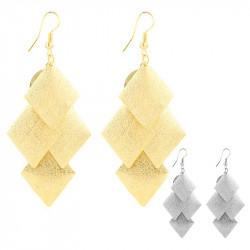 BOF0036 BOBIJOO JEWELRY Ohrringe Quadrat in Silber oder gold Glänzend