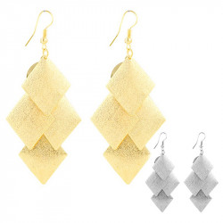 BOF0036 BOBIJOO JEWELRY Pair of earrings Square Silver or Shiny gold