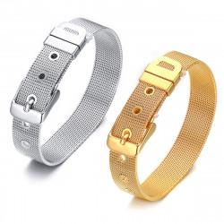 Bracelet Ceinture Mailles Métal Doré à l'Or Fin Acier Inoxydable
