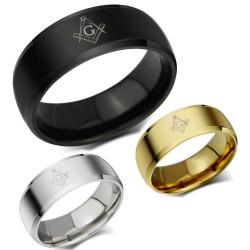 BA0010 BOBIJOO Jewelry Bague Alliance Anneau Franc Maçonnerie Acier au Choix