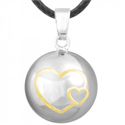 Collier Pendentif Bola Musical Grossesse Double Coeur Or Plaqué Argent Or