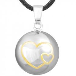 GR0001 BOBIJOO Jewelry Colgante Del Collar De La Bola Musical De Embarazo Doble Corazón Chapado En Oro Plata Oro