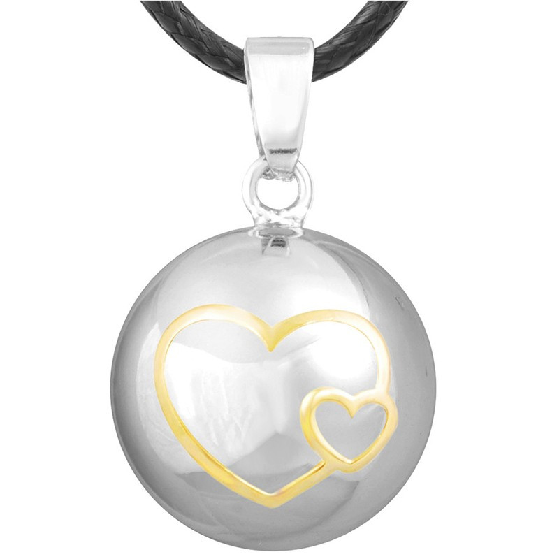 GR0001 BOBIJOO Jewelry Collier Pendentif Bola Musical Grossesse Double Coeur Or Plaqué Argent Or