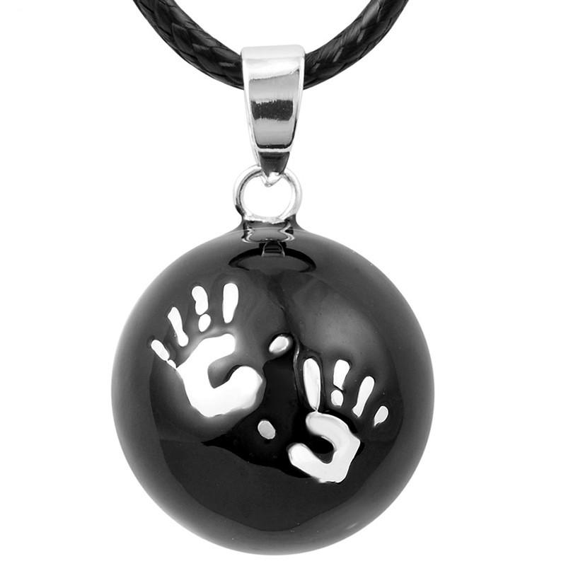 GR0004 BOBIJOO Jewelry Collier Pendentif Bola Musical Grossesse Mains bébé Plaqué Argent Email Noir