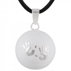 GR0005 BOBIJOO Jewelry Collier Pendentif Bola Musical Grossesse Mains bébé Argent Email Blanc
