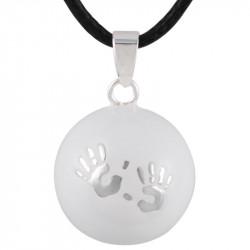 GR0005 BOBIJOO Jewelry Halskette Anhänger Bola Musical Schwangerschaft Hände baby-Silber-Email-Weiß