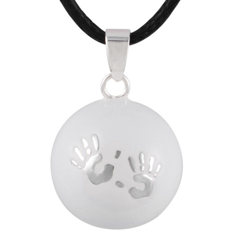 GR0005 BOBIJOO Jewelry Collier Pendentif Bola Musical Grossesse Mains bébé Argent Email Blanc