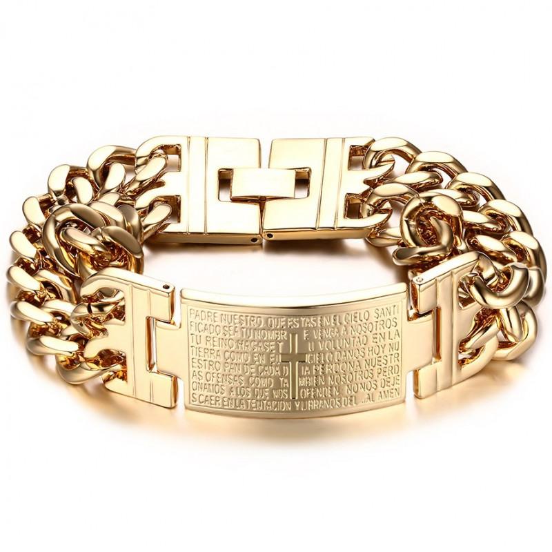 GO0002 BOBIJOO Jewelry Curb Chain Bracelet Man Cross