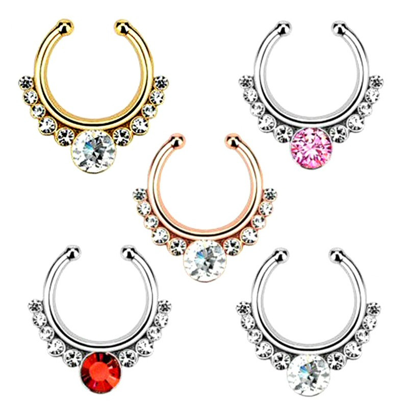 PIP0002 BOBIJOO Jewelry Septum Fake Nose Piercing 5 Colors to choose from