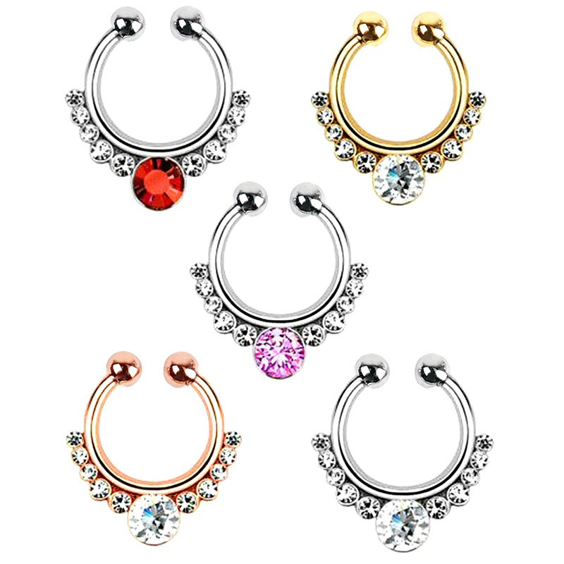 PIP0009 BOBIJOO Jewelry Septum Fake Nose Piercing 5 Colors to choose Balls 3 mm
