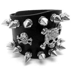 BR0088 BOBIJOO Jewelry Bracelet of Strength-Studded 2-Row, Death's Head