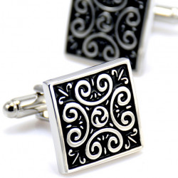 BM0010 BOBIJOO Jewelry Cufflinks Tribal Celtic Black Steel