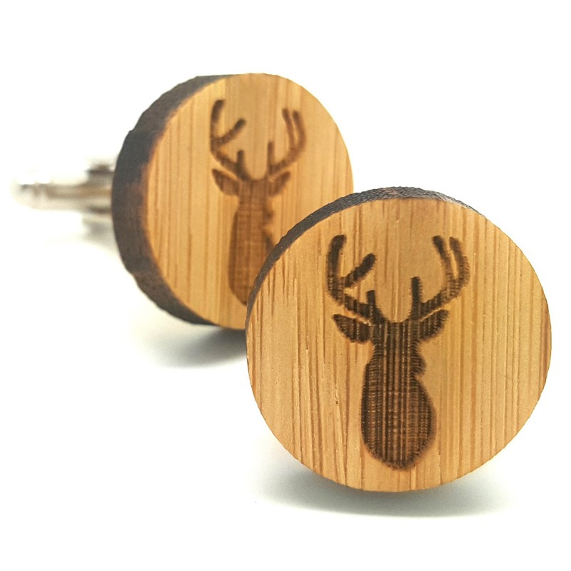 BM0012 BOBIJOO Jewelry Cufflinks, Wood Deer Head