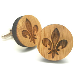 BM0014 BOBIJOO Jewelry Gemelli in Legno Fleur-de-Lys