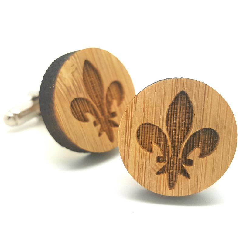 BM0014 BOBIJOO Jewelry Boutons de Manchette Bois Fleur de Lys
