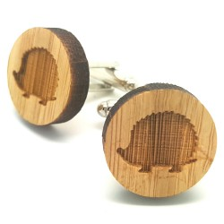 BM0015 BOBIJOO Jewelry Cufflinks Wood Hedgehog Niglo