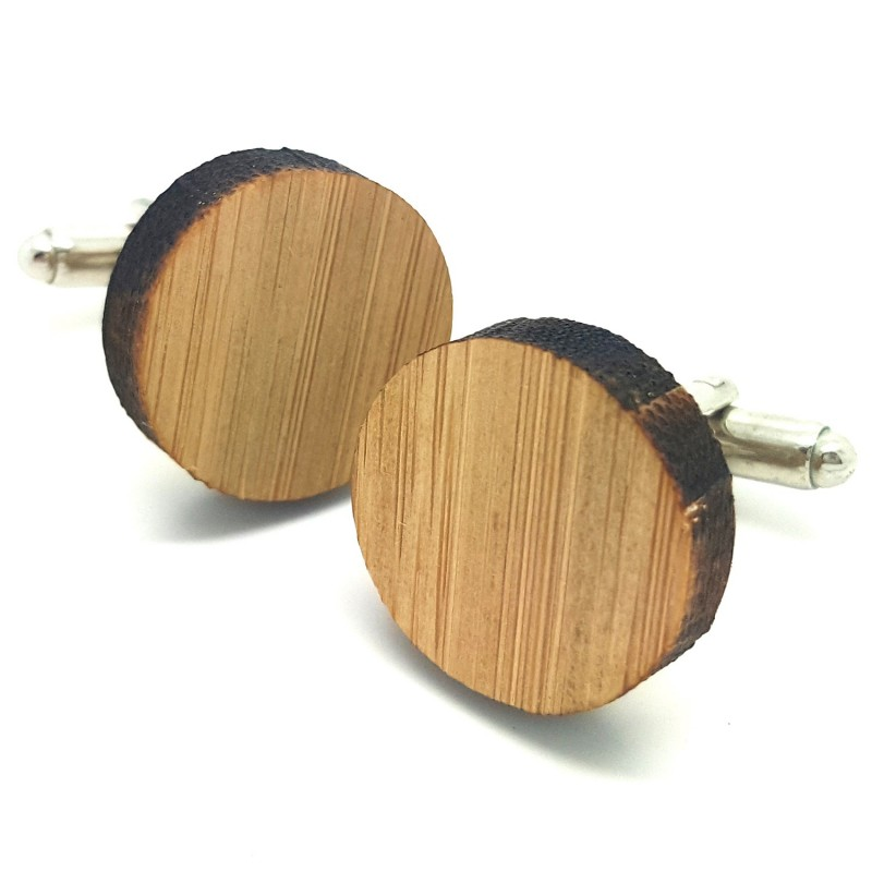 BM0016 BOBIJOO Jewelry Cufflinks Wood Neutral Round