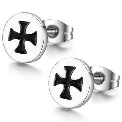 BOF0043 BOBIJOO JEWELRY Earrings maltese Cross Stainless Steel