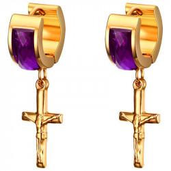 Boucles d'Oreilles Croix Pendantes Doré à l'Or Fin