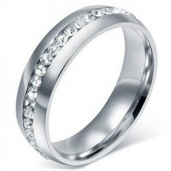 AL0039 BOBIJOO Jewelry Alianza Anillo de 6mm de Zirconia plata de Acero Inoxidable