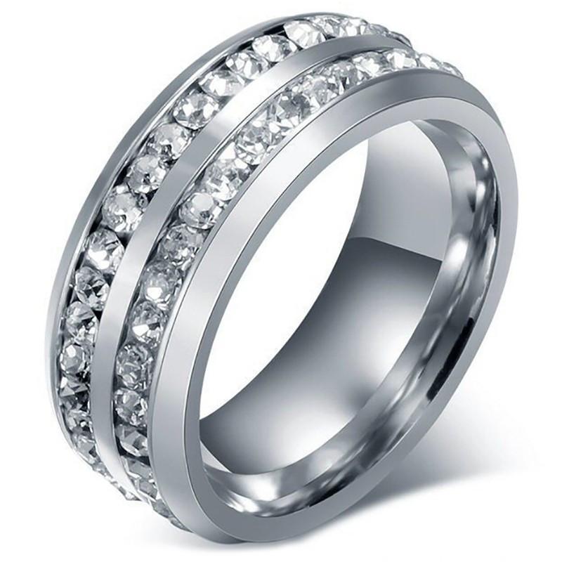 AL0040 BOBIJOO Jewelry Alliance Ring Double Rhinestone Silver Stainless Steel