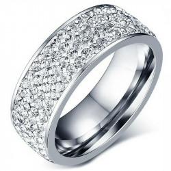 AL0041 BOBIJOO Jewelry Alianza Anillo Triple Fila De Diamantes De Imitación De Plata De Acero Inoxidable