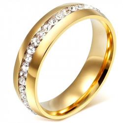 AL0043 BOBIJOO Jewelry Alliance 6mm Anneau Doré à l'Or Fin Zirconium Acier Inoxydable