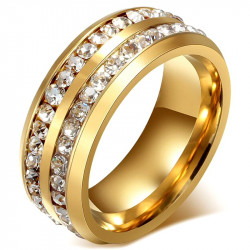 Alliance Ring, Gold Double Rhinestone Stainless Steel
