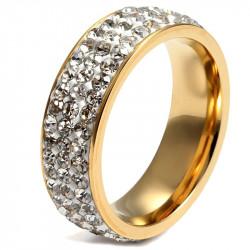 AL0045 BOBIJOO Jewelry Alianza De Oro Final De Triple Fila De Zirconia De Acero Inoxidable