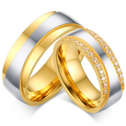 Alliance Couple Doré à l'Or Fin Zirconium Strass bobijoo