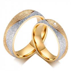 AL0037 BOBIJOO Jewelry Alianza Anillo Anillo chapado en Oro de acabado Brillante Pareja