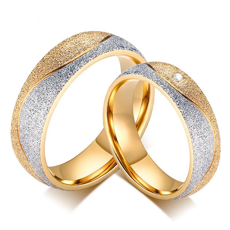 AL0037 BOBIJOO Jewelry Alleanza Anello placcato Oro con finitura Lucida Coppia