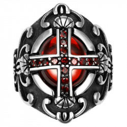 BA0042 BOBIJOO Jewelry Chevalière Bague Croix Templier Royaliste Pierre Rouge Gothique