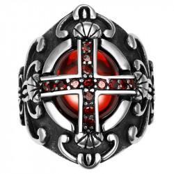 Chevalière Bague Croix Templier Royaliste Pierre Rouge Gothique bobijoo