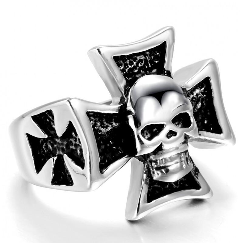 BA0043 BOBIJOO Jewelry Signet Ring skull maltese Cross
