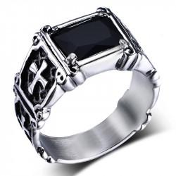 BA0049 BOBIJOO Jewelry Bague Cabochon Chevalière Croix Royaliste Mallte Noire