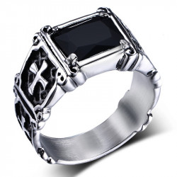 BA0049 BOBIJOO Jewelry Ring Cabochon Signet Ring Cross Royalist Mallte Black
