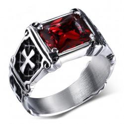 BA0048 BOBIJOO Jewelry Bague Cabochon Chevalière Croix Royaliste Malte Rouge