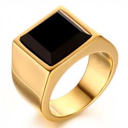 BA0052 BOBIJOO Jewelry Ring Cabochon Siegelring Vergoldet, Gold