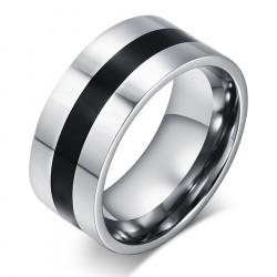 BA0044 BOBIJOO Jewelry Ring Alliance Edelstahl-Kante Schwarz