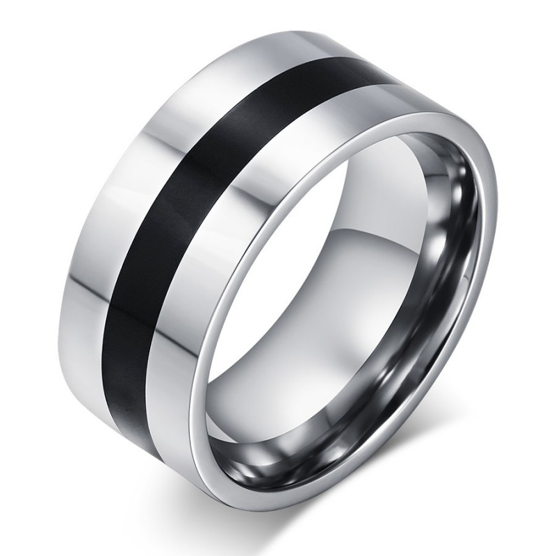 BA0044 BOBIJOO Jewelry Ring Alliance Stainless Steel Black Frame