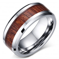 Ring Alliance Stainless Steel Wood Kao Hawaii