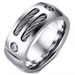 BA0045 BOBIJOO Jewelry Bague Alliance Acier Inoxydable Cable Zirconium