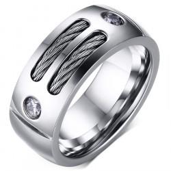 BA0045 BOBIJOO Jewelry Anillo Alianza De Cable De Acero Inoxidable, De Circonio